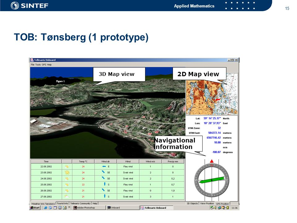 Applied Mathematics 15 TOB: Tønsberg (1 prototype) 3D Map view 2D Map view Navigational information Figure 1 3D Map view 2D Map view