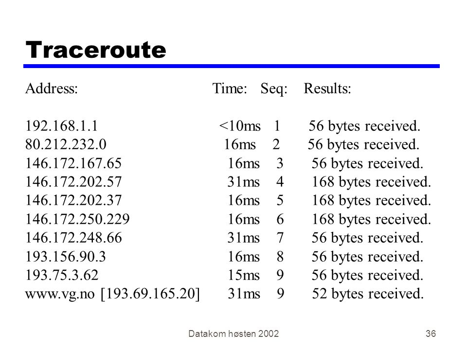 Datakom høsten Traceroute Address: Time: Seq: Results: <10ms 1 56 bytes received.