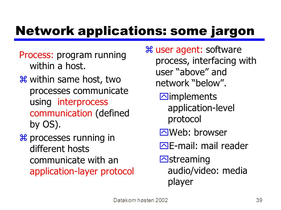Datakom høsten Network applications: some jargon Process: program running within a host.