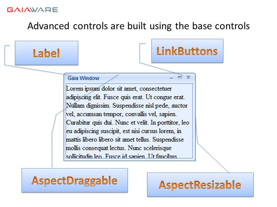 Advanced controls are built using the base controls