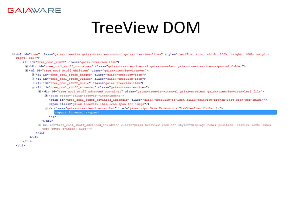 TreeView DOM
