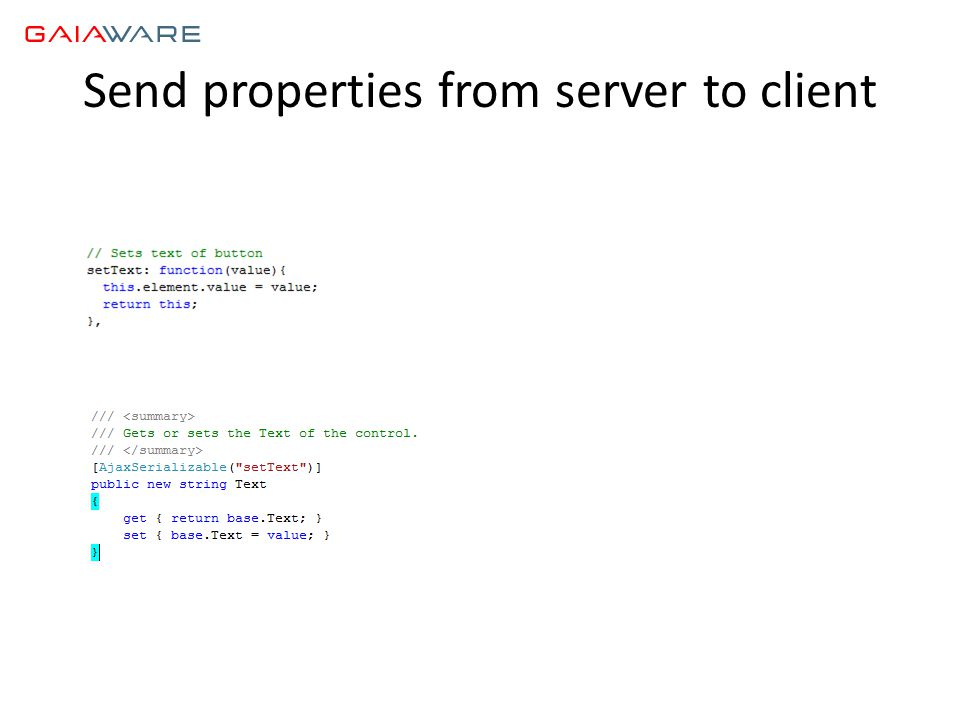 Send properties from server to client