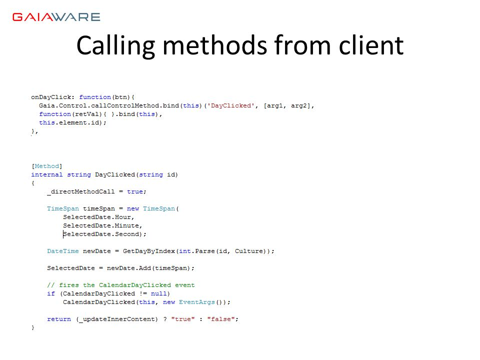 Calling methods from client