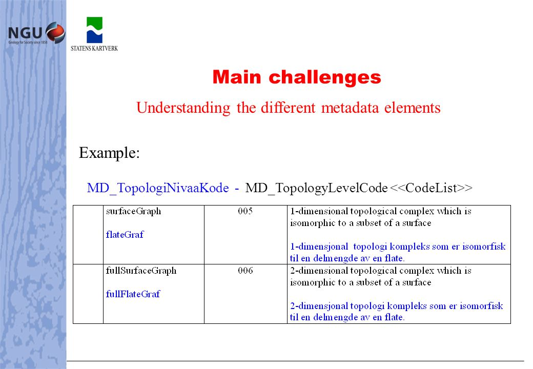 Main challenges Understanding the different metadata elements Example: MD_TopologiNivaaKode - MD_TopologyLevelCode >
