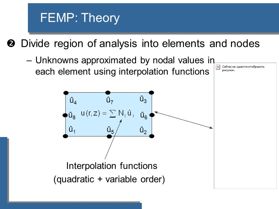  Divide region of analysis into elements and nodes FEMP: Theory –Unknowns approximated by nodal values in each element using interpolation functions û4û4 û3û3 û2û2 û1û1 Interpolation functions (quadratic + variable order) û7û7 û8û8 û5û5 û6û6