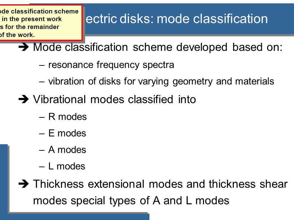 Piezoelectric disks: mode classification The refined mode classification scheme developed in the present work is a basis for the remainder of the work.