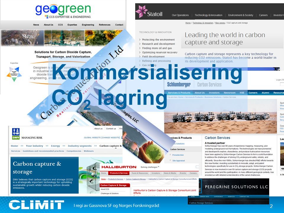 2 Kommersialisering CO 2 lagring