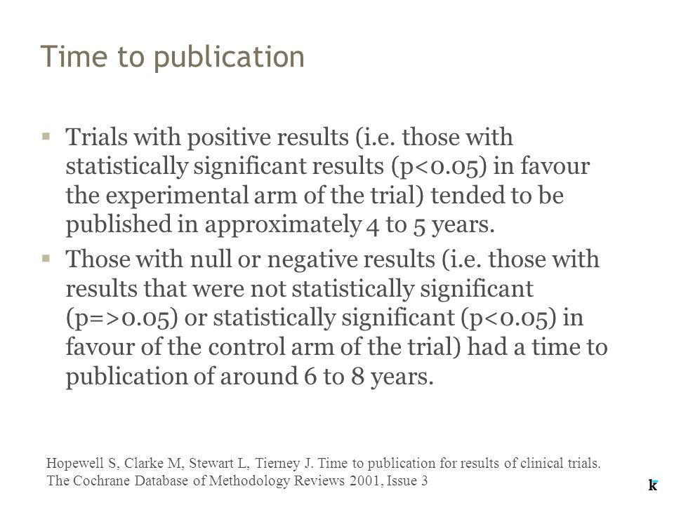 Time to publication  Trials with positive results (i.e.