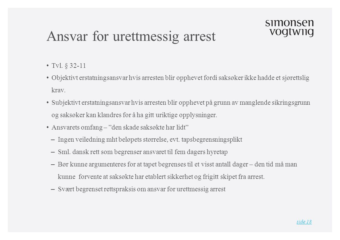 Ansvar for urettmessig arrest • Tvl.