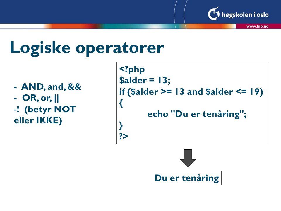 Logiske operatorer - AND, and, && - OR, or, || -.