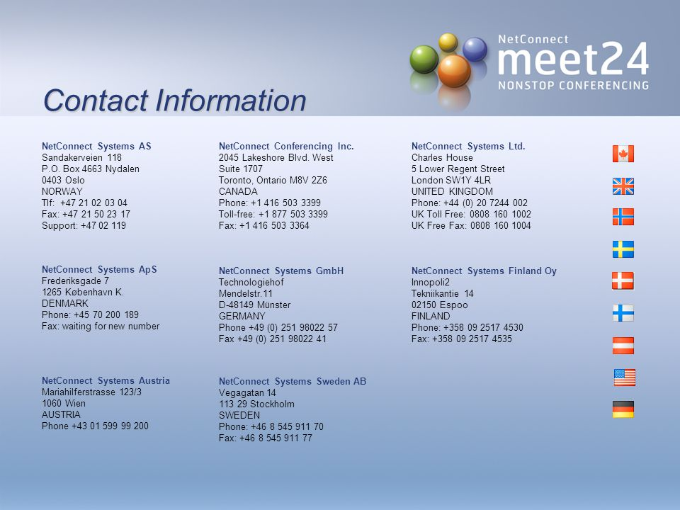 Contact Information NetConnect Systems AS Sandakerveien 118 P.O.