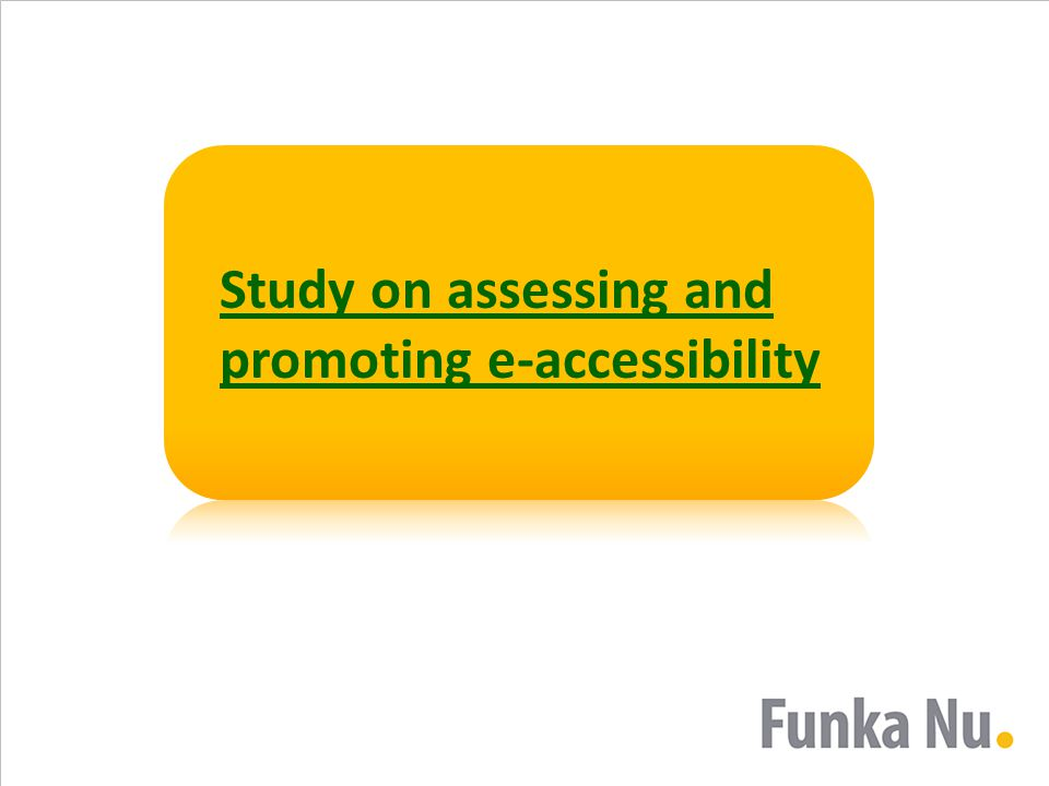 Study on assessing and promoting e-accessibility