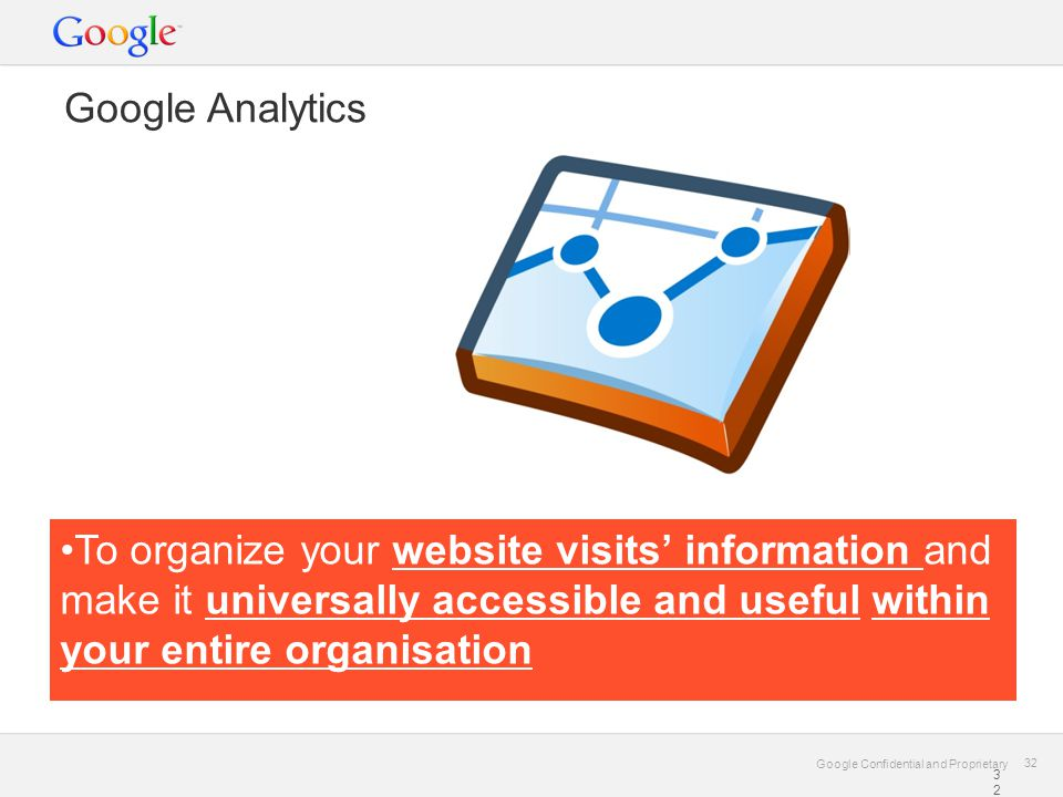 Google Confidential and Proprietary 32 Google Confidential and Proprietary 32 Google Analytics •To organize your website visits' information and make it universally accessible and useful within your entire organisation 32