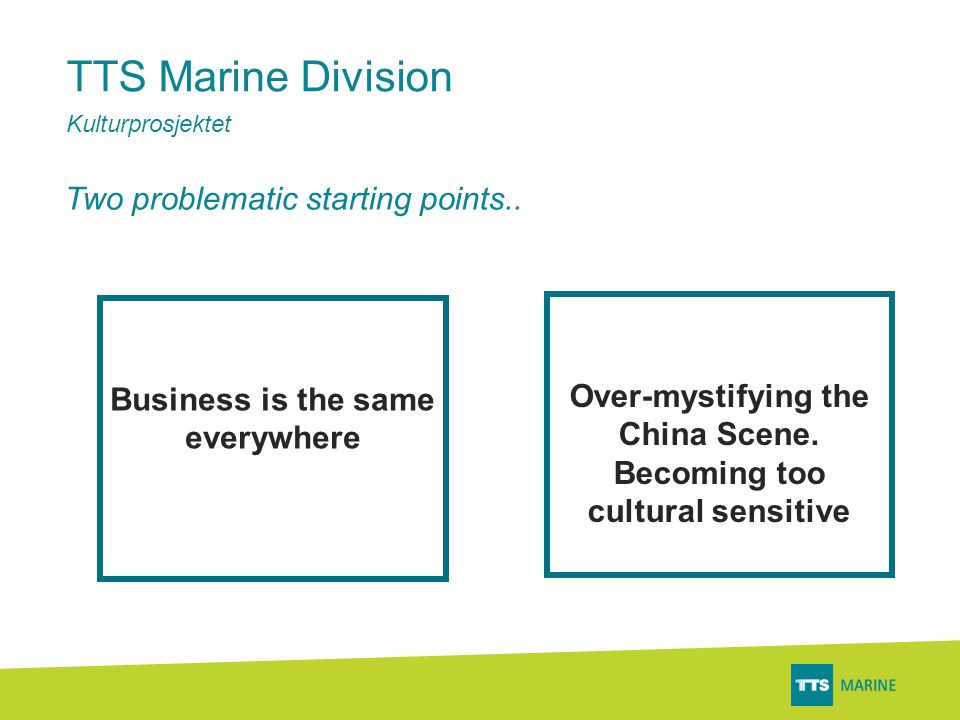 TTS Marine Division Kulturprosjektet Business is the same everywhere Over-mystifying the China Scene.