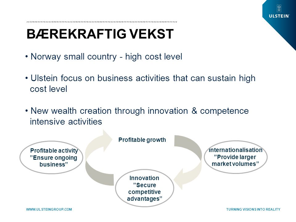TURNING VISIONS INTO REALITY WWW.ULSTEINGROUP.COM BÆREKRAFTIG VEKST Profitable growth • Norway small country - high cost level • Ulstein focus on business activities that can sustain high cost level • New wealth creation through innovation & competence intensive activities Profitable activity Ensure ongoing business Internationalisation Provide larger market volumes Innovation Secure competitive advantages