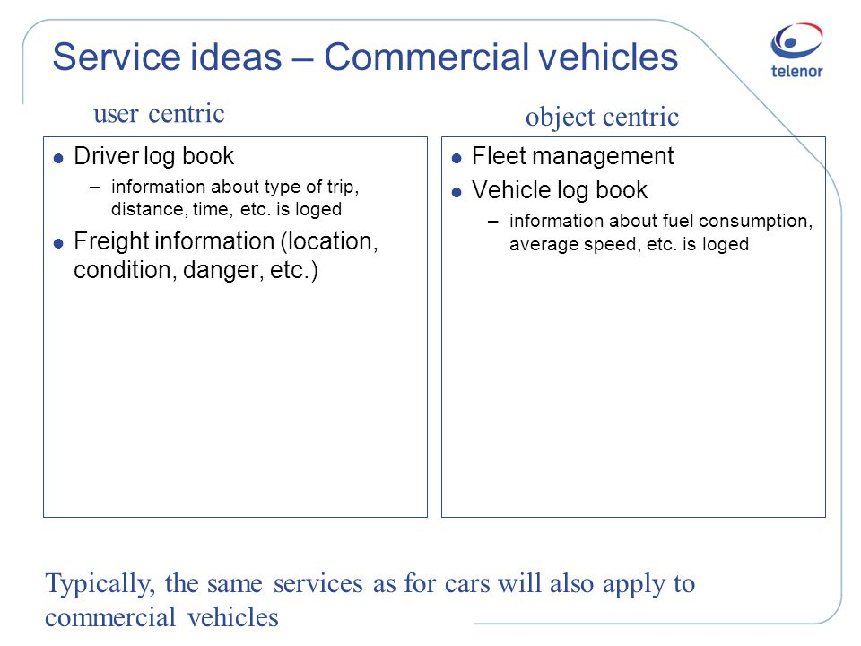 Service ideas – Commercial vehicles l Driver log book –information about type of trip, distance, time, etc.
