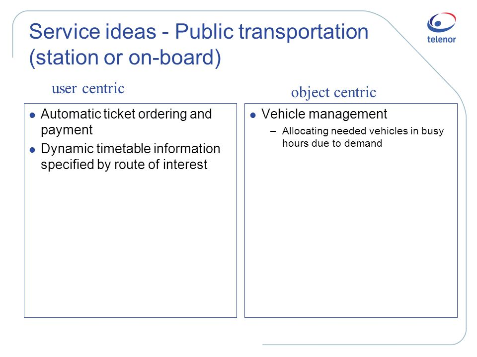 Service ideas - Public transportation (station or on-board) l Automatic ticket ordering and payment l Dynamic timetable information specified by route of interest l Vehicle management –Allocating needed vehicles in busy hours due to demand user centric object centric