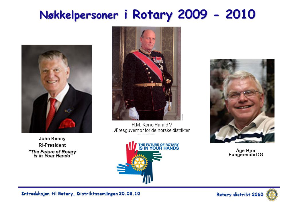 Rotary distrikt 2260 Introduksjon til Rotary, Distriktssamlingen Nøkkelpersoner i Rotary John Kenny RI-President The Future of Rotary is in Your Hands Åge Bjor Fungerende DG H.M.