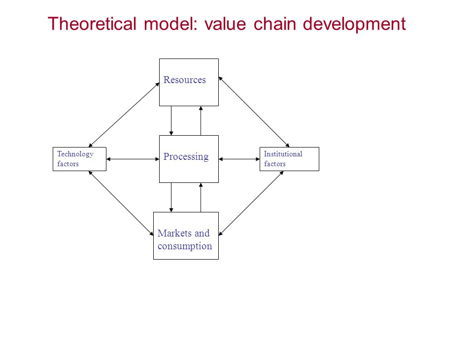 Resources Processing Markets and consumption Technology factors Institutional factors Theoretical model: value chain development