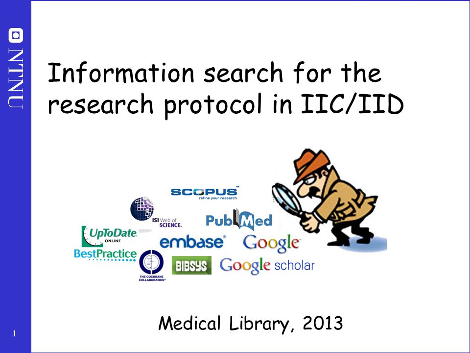 1 Information search for the research protocol in IIC/IID Medical Library, 2013